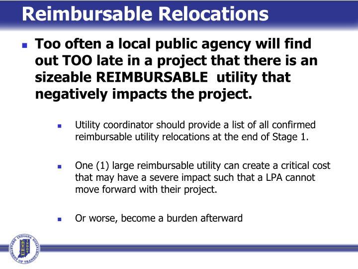 Reimbursable Relocations