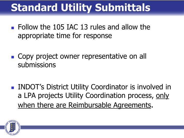Standard Utility Submittals