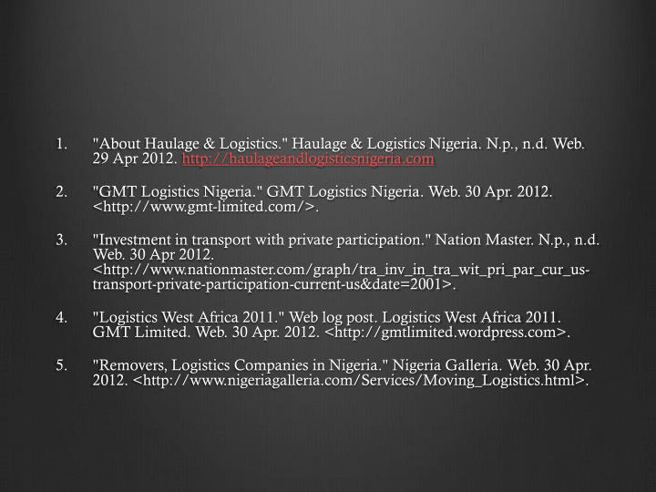 """About Haulage & Logistics.""Haulage & Logistics Nigeria."