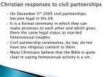 christian responses to civil partnerships