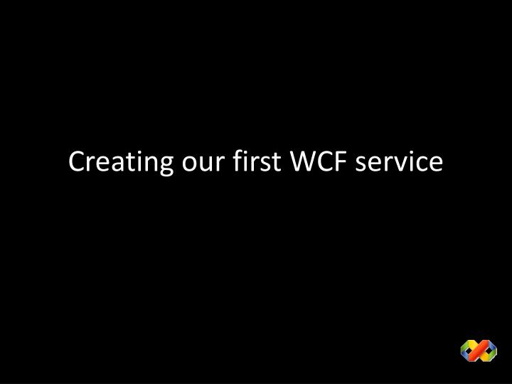 Creating our first WCF service