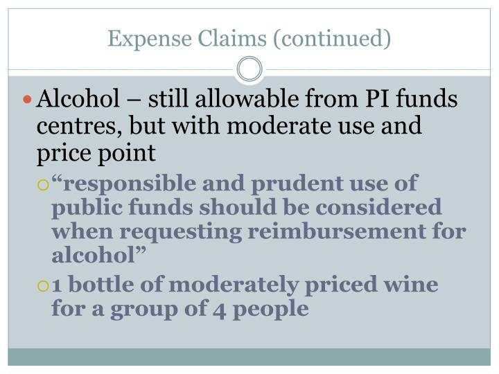 Expense Claims (continued)