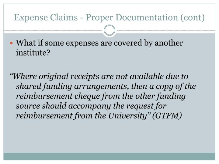 Expense Claims - Proper Documentation (cont)