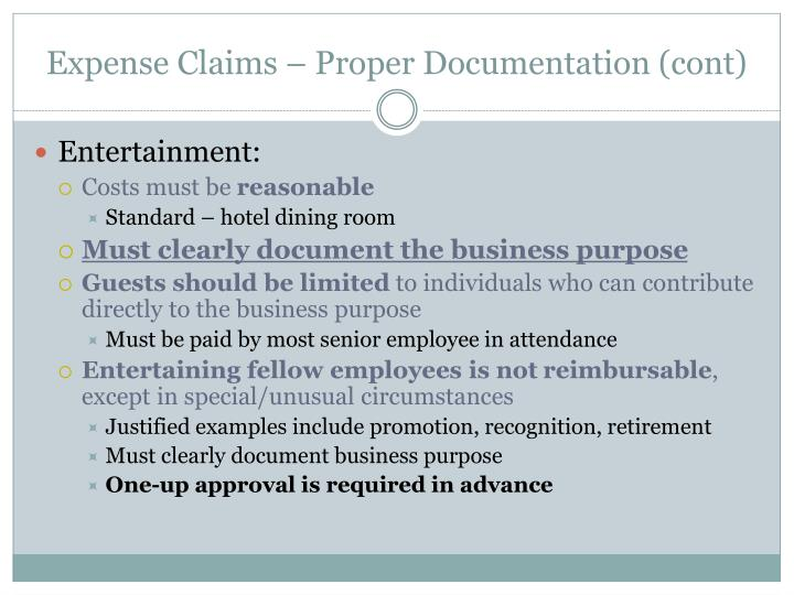 Expense Claims – Proper Documentation (cont)