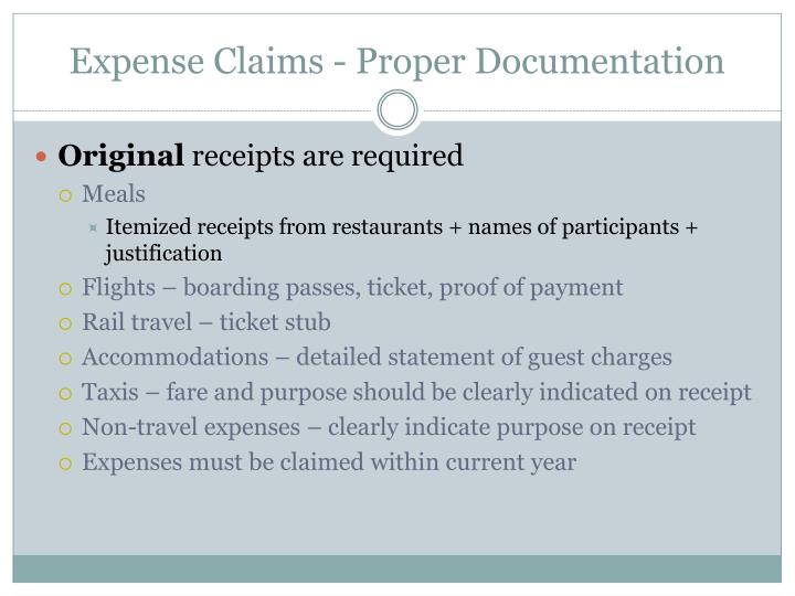 Expense Claims - Proper Documentation