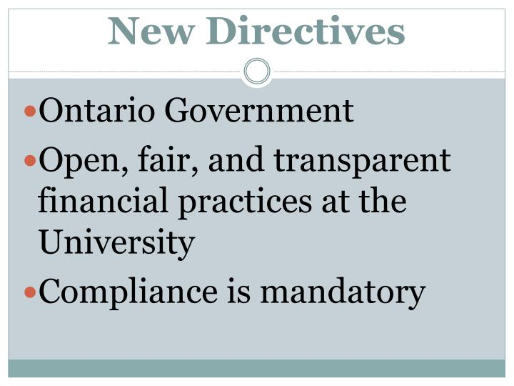 New Directives