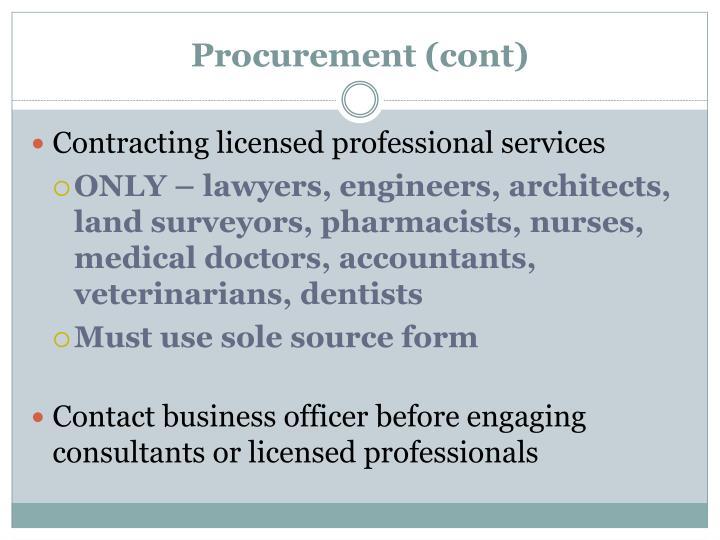 Procurement (cont)