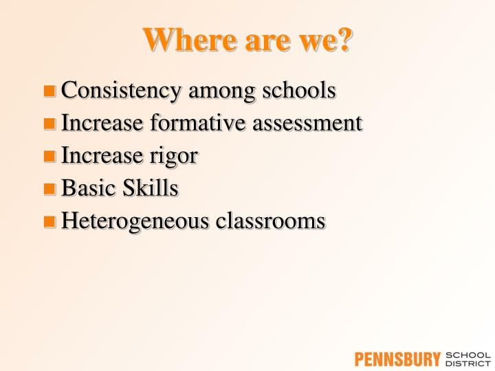 Consistency among schools
