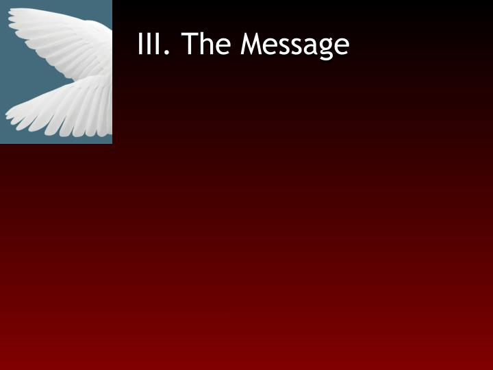 III. The Message