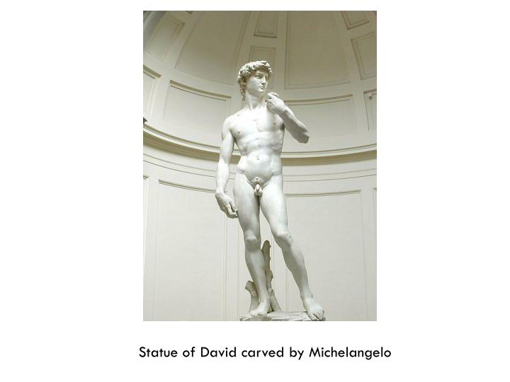 Statue of David carved by Michelangelo