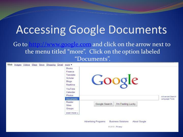 Accessing google documents
