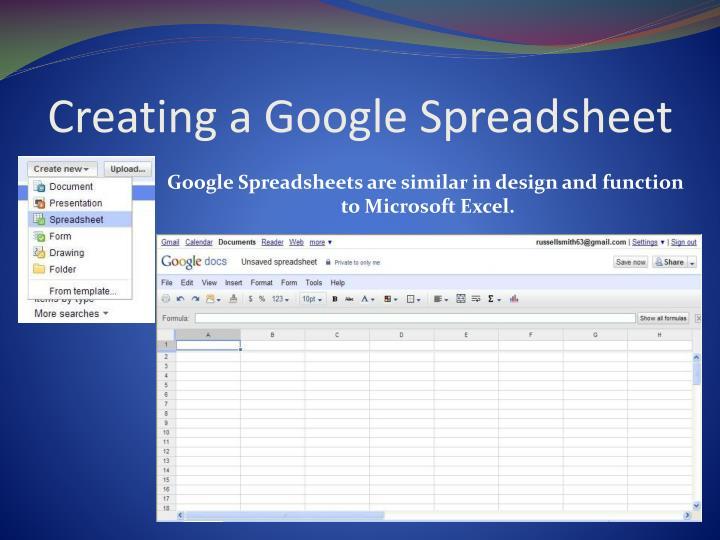 Creating a Google Spreadsheet