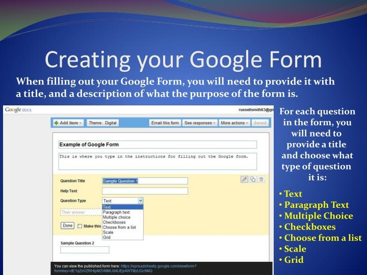 Creating your Google Form