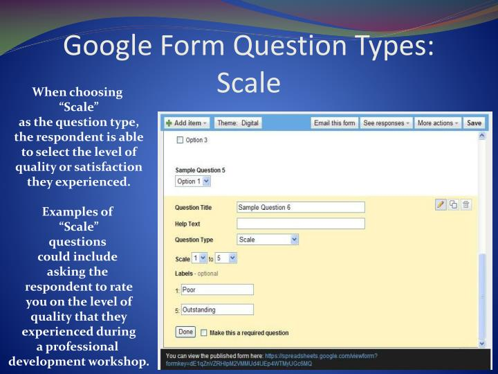 Google Form Question Types: