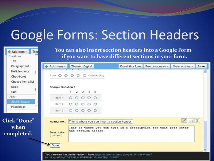 Google Forms: Section Headers
