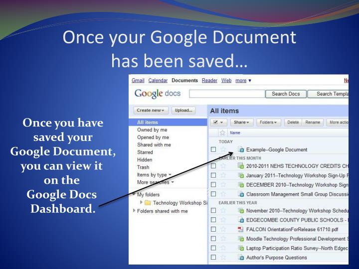 Once your Google Document