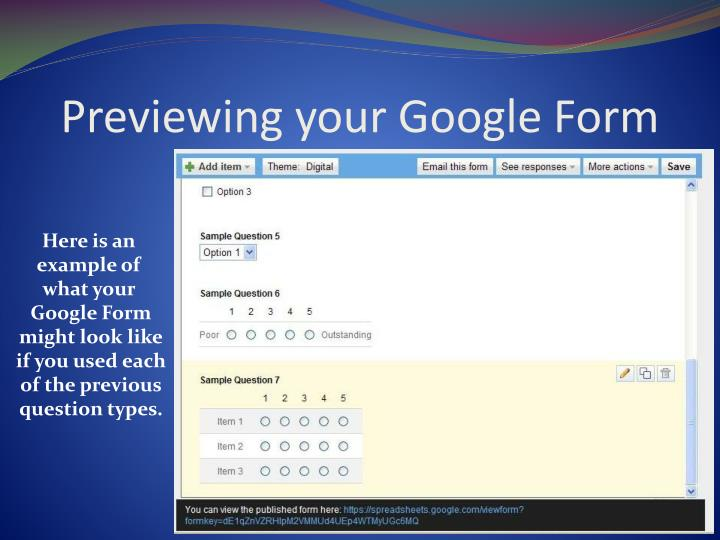 Previewing your Google Form