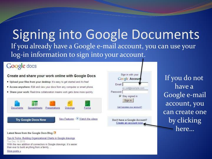 Signing into google documents
