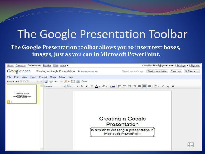 The Google Presentation Toolbar