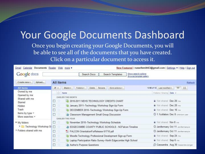 Your Google Documents Dashboard
