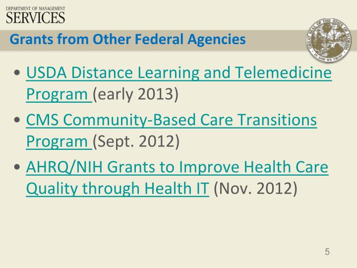 Grants from Other Federal Agencies