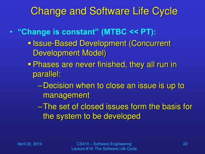 Change and Software Life Cycle