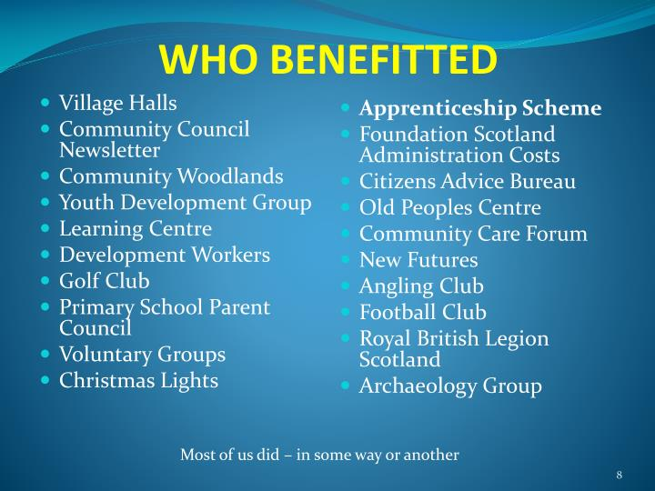 WHO BENEFITTED