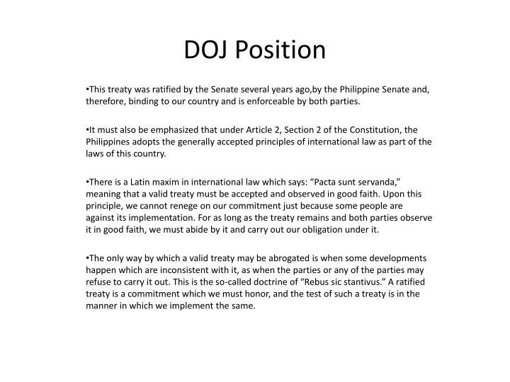 DOJ Position