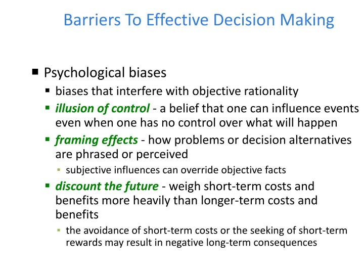 barriers to effective decision making Shared decision making: examining key elements and barriers to adoption into routine clinical practice  barriers to shared decision making  for effective shared decision making .