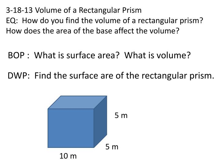 3-18-13 Volume of a Rectangular Prism