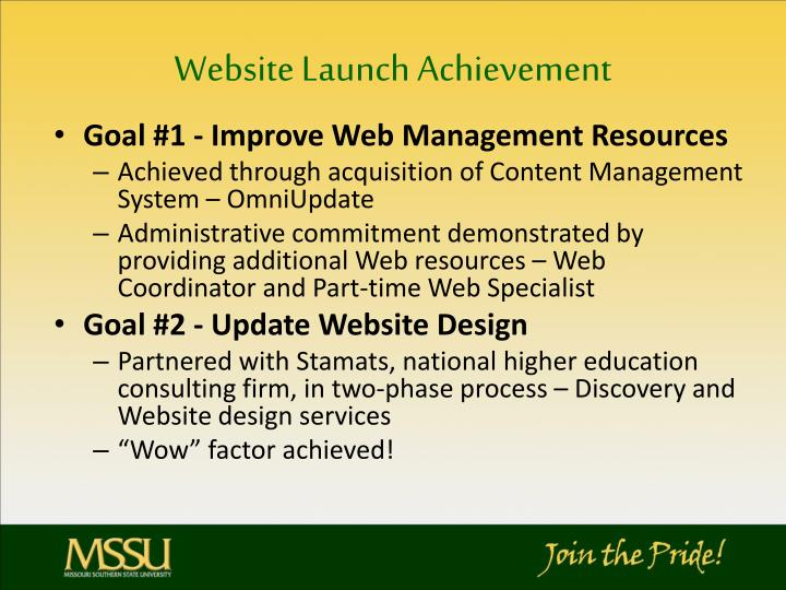 Website Launch Achievement