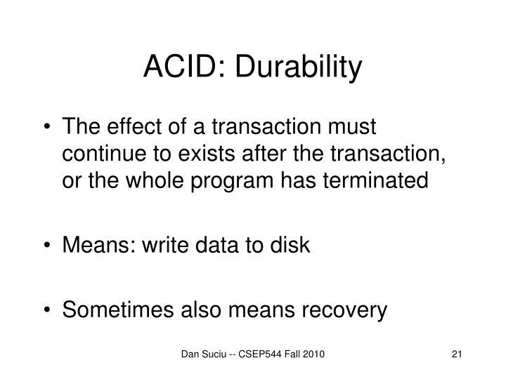 ACID: Durability