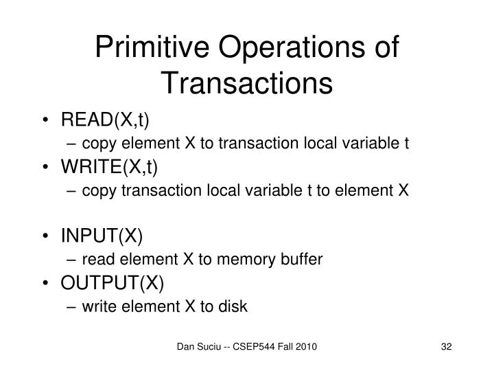 Primitive Operations of Transactions