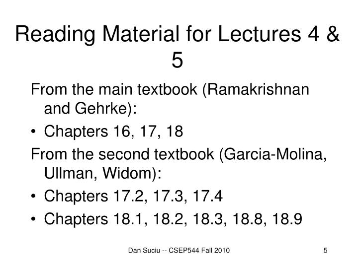 Reading Material for Lectures 4 & 5