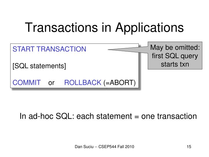 Transactions in Applications