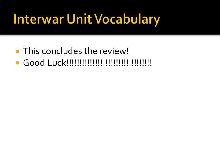 Interwar Unit Vocabulary