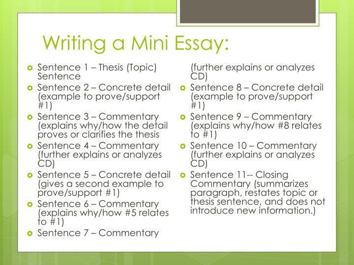 mini essay format A good paragraph is a mini-essay it should demonstrate three components.