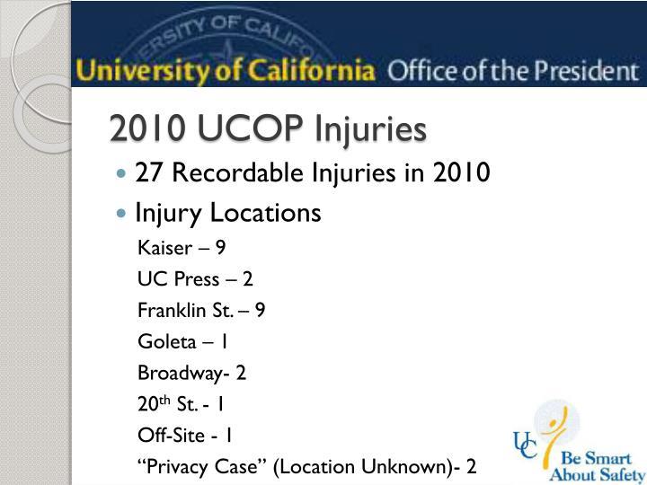 2010 UCOP Injuries