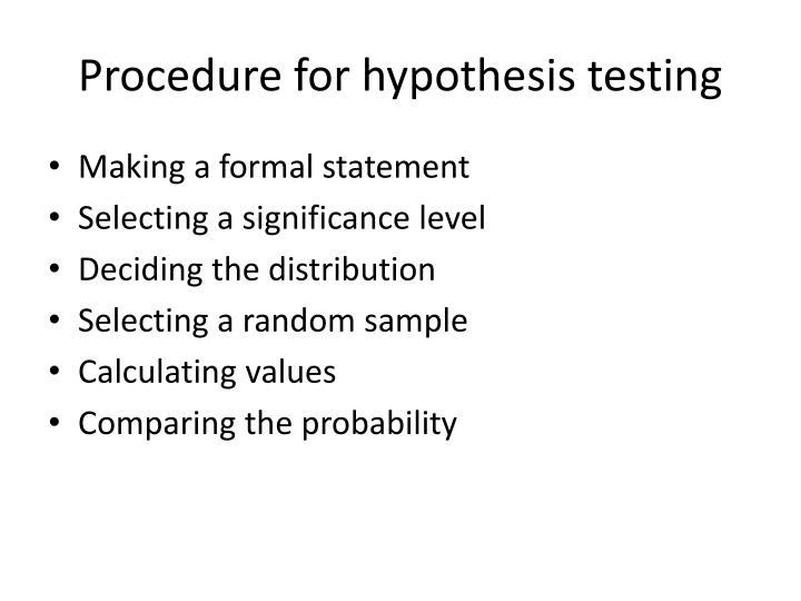 Procedure for hypothesis testing