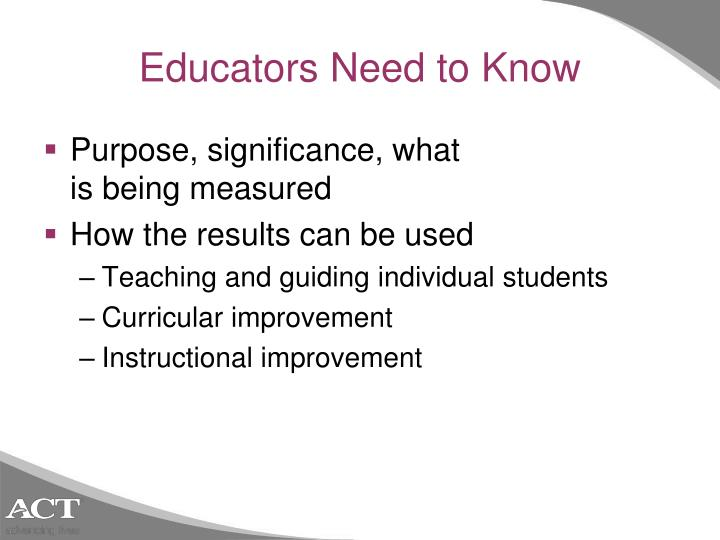 Educators Need to Know