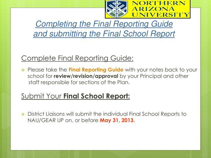 Completing the Final Reporting Guide