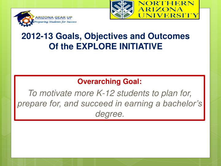 2012-13 Goals, Objectives and Outcomes