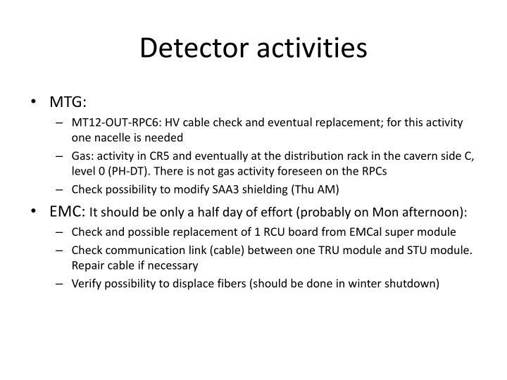 Detector activities