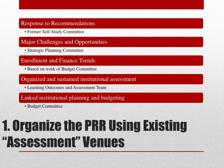 "1. Organize the PRR Using Existing ""Assessment"" Venues"
