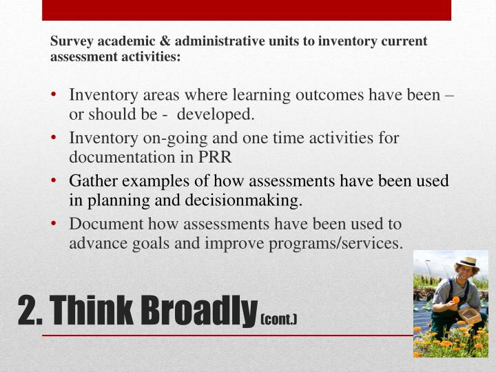 Survey academic & administrative units to