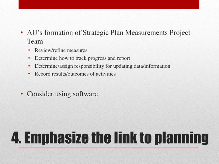 AU's formation of Strategic Plan Measurements Project Team