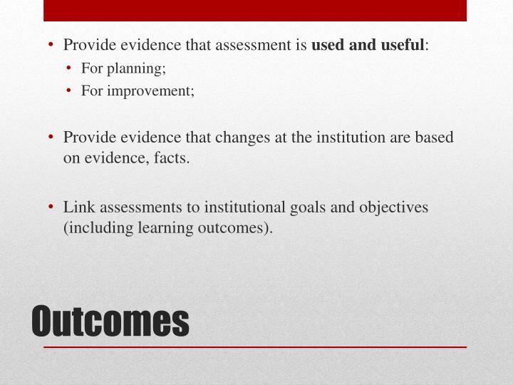 Provide evidence that assessment is
