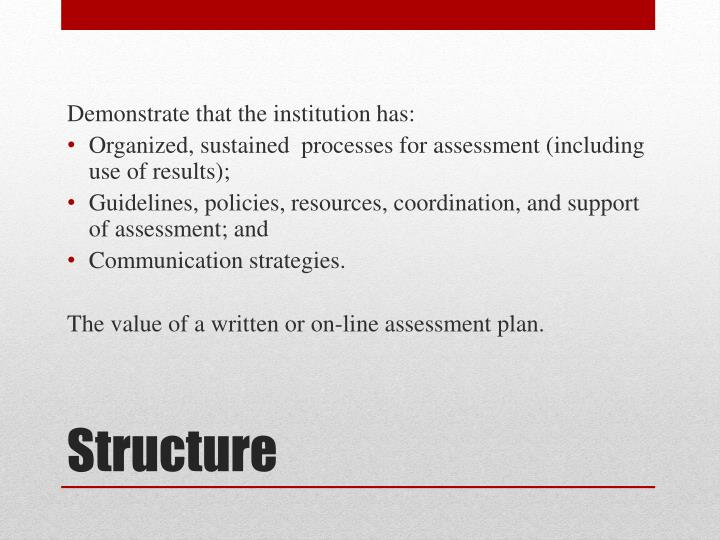 Demonstrate that the institution has: