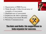 the nuts and bolts six suggestions to help organize for success