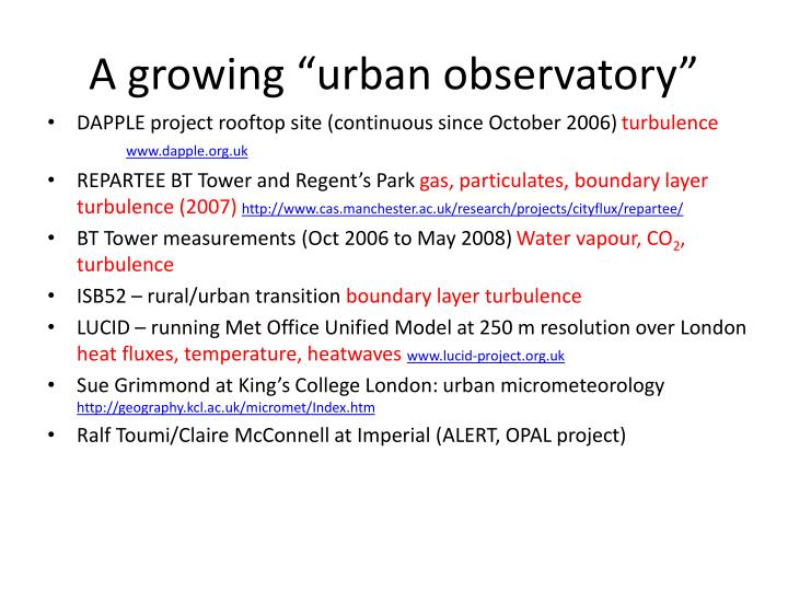 "A growing ""urban observatory"""
